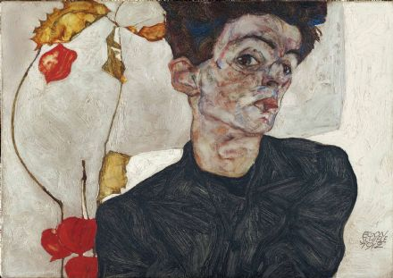 Schiele, Egon: Self-Portrait with Physalis. Fine Art Print/Poster. Sizes: A4/A3/A2/A1 (003717)
